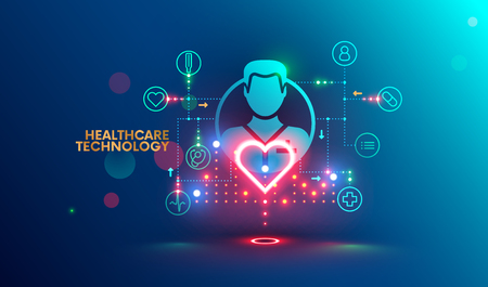 Modern technology in healthcare, medical diagnosis. Online medicine infographic concept. Artificial intelligence help integrate and analysis data about health patients.