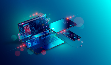 Mobile app development and design. Sketch layout of mobile application debug on smartphone and tablet. Testing usability interface website or software for different devices. Vector isometric concept. Illustration