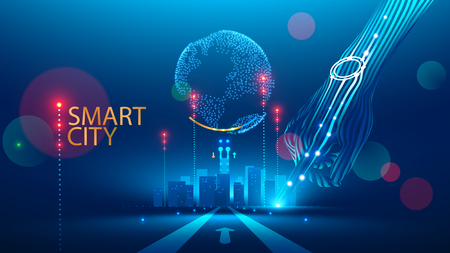 Smart City communication with global network and urban infrastructure. Wireless connection technology in lifestyle social medium. Communication Network transmit Information through internet of Things. Illustration