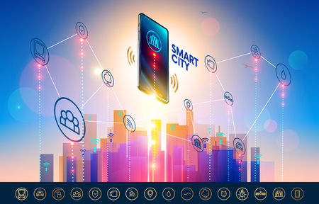 Smart city wireless communication network with smart phone. City infrastructure icons set. Isometric Smartphone over urban landscape connected with icons town iot. Standard-Bild - 114858343