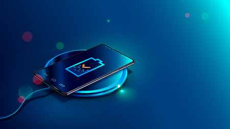 Black smart phone on wireless charging device on blue background. Icon battery and charging progress lighting on screen smart phone. Isometric vector illustration. Illusztráció