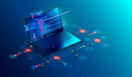 Software, sviluppo web, concetto di programmazione. Linguaggio di programmazione astratto e codice di programma sul laptop dello schermo. Rete aziendale di laptop e icone. Processo tecnologico di sviluppo del software Vettoriali