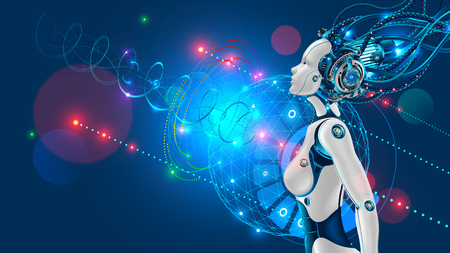 Female humanoid robot or cyborg with artificial intelligence sideways.