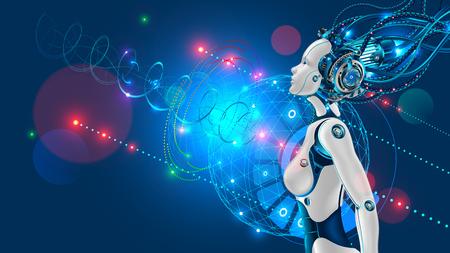 Robot humanoide femenino o cyborg con inteligencia artificial hacia los lados.