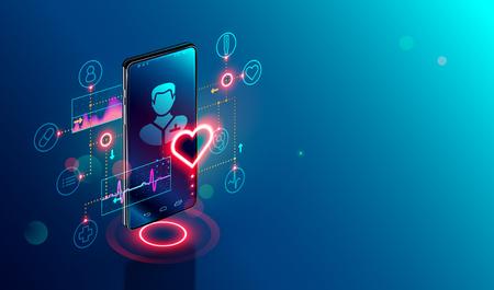 Concetto isometrico di telemedicina online. Consultazione e trattamento medico tramite l'applicazione della clinica Internet connessa allo smartphone.