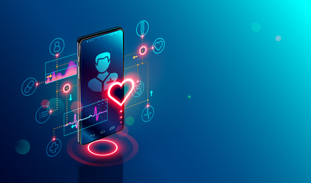 Online tele medicine isometric concept. Medical consultation and treatment via application of smartphone connected internet clinic. Stock fotó - 112311320