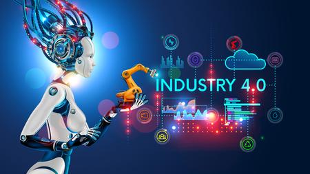 Concetto Industria 4.0. Automazione dell'intelligenza artificiale della produzione di prodotti in fabbrica intelligente. Ai utilizza la gestione intellettuale dei processi industriali. Donna robot che tiene nel palmo un braccio robotico