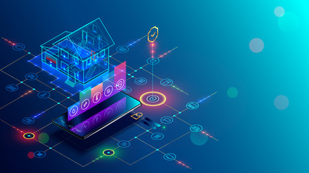 Smart home with internet of things isometric concept. IOT technology in house automation design. Smartphone for wireless control of household appliances via internet. Protection house infrastructure. 일러스트