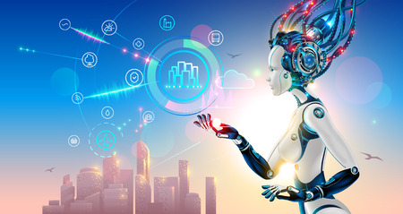 Artificial intelligence controls smart city via internet and hud interface with icons urban infrastructure. iot technology in information and communication technologies. Robot or cyborg woman with AI Stock fotó - 109723126