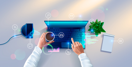 Hands of developer working on keyboard of laptop on white desk. top view. Workplace of programmer with notebook, table plant, smartphone, icons and interface elements. 일러스트