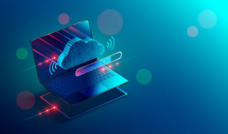 Isometric laptop or notebook with icon or symbol of cloud technology. Progress upload and download data information in cloud storage of corporation network and sharing of data . Conceptual banner. Illusztráció