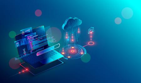 Laptop-Verbindung auf Cloud-Speicher für die Zusammenarbeit mit dem Remote-Team. Kooperationsarbeit über Internet und Arbeit mit Projekt im Shared Access. Isometrisches Infografik-Konzept.