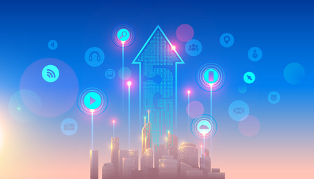 5g lte network logo over the smart city with icons of town infrastructure. devices connection via high speed, broadband telecommunication wireless internet. Skyscrapers in sunrise.
