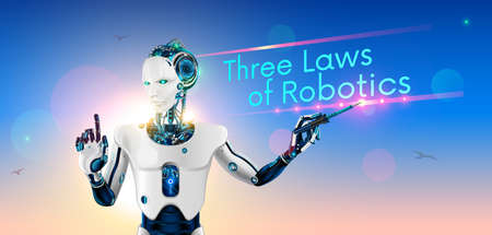 Robot-lecturer or cyborg teacher with a pointer at the school Board. Humanoid android with artificial intelligence teaches other robots three laws of robotics. Machine learning. future concept