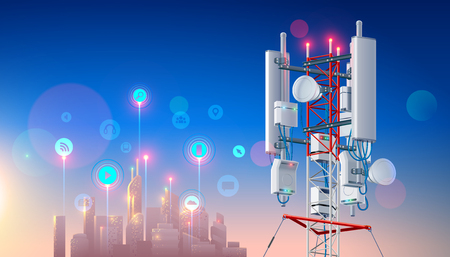 Antenna for wireless network. Telecommunication cellular station for smart city connections mobile equipment. Broadcasting tower for high speed internet communication. Mast Lte aerial. Tech background Illusztráció