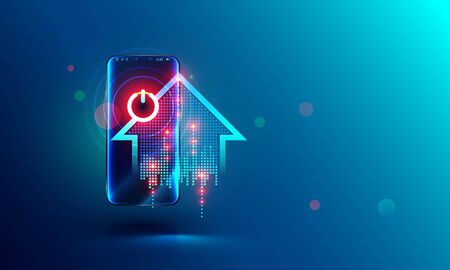 Smart home abstract concept. intelligence system power button on screen mobile phone. Smartphone controls power of households devices. Abstract illustration about home automation. 스톡 콘텐츠 - 133454162