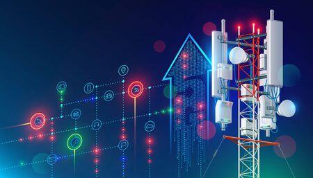 5G communication tower for wireless hi-speed internet. Illustration