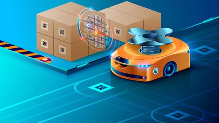 Robot Autónomo, Guiado de Inteligencia Artificial en Almacén Automatizado. Smart Drone distribuye paquetes en el centro logístico. Juego completo automatizado en almacén moderno.
