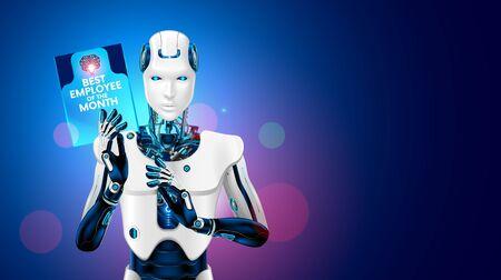 Roboter bester Mitarbeiter des Monats nimmt die Arbeit eines Mannes ab. Cyborg-Arbeiter, der eine Belohnung für seine Arbeit in der Hand hält. Arbeitslosigkeit durch industrielle Automatisierungsfertigung. Industrielle Revolution 4.0 Vektorgrafik