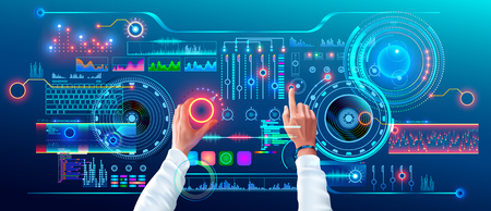 Scientist Work with Futuristic Holographic HUD Interface. User Hands Controls Abstract Tech Elements Virtual Digital Dashboard. Fantastic Science Infographic and Data on Tach Panel. Illustration