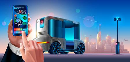 Autonomous driverless shuttle public bus. Automated self-driving vehicle system in city. Passenger holding smartphone in hand and call cab via mobile app. Phone Displays Location of Taxi on Map Roads.