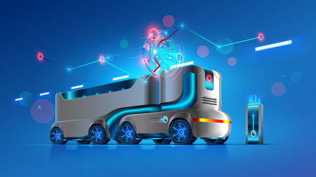 Autonomous driverless truck follows the specified route on the map. Automation interurban delivery transport. Self-driving vehicles of innovation logistics. Iot electric automatic lorry carrying cargo Illusztráció