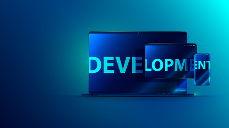 Development software. Technology business programming and coding app. Word development on screen of laptop, tablet, phone. Abstract cross platforms computer program on different device. Concept banner