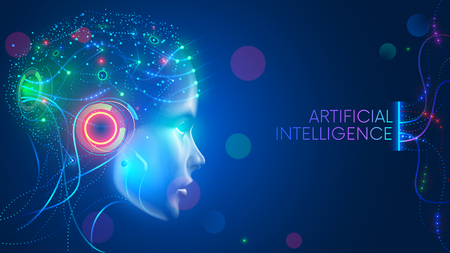 Artificial intelligence in humanoid head with neural network thinks. AI with Digital Brain is learning processing big data, analysis information. Face of cyber mind. Technology background concept. Иллюстрация