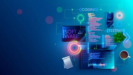 Software development coding process concept. Programming, testing cross platform code, app on laptop, tablet, phone. Create, editing script desktop and mobile devices. Technology software of business.