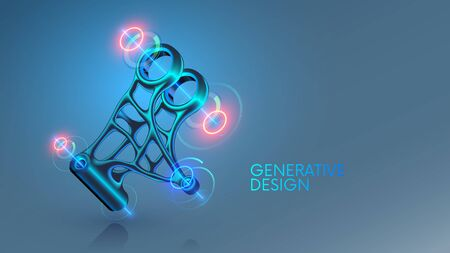 Generative design, development 3d model steel part on cad system. Industrial design mechanical item generated by computer artificial intelligence. Engineering technology concept banner. cad software.