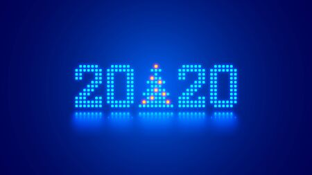 Hanging 2020 number year or digits and Christmas tree consisting blue shining neon square pixels with reflection. Xmas New Year background. Digital computer technology conceptual christmas banner.