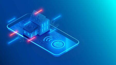Smart home technology on screen smartphone on blue background. Internet of things conceptual isometric illustration. Digital House. Access to IOT systems using a fingerprint on a mobile phone.