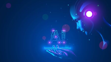 Cyborg woman look at logo AI hanging over phone. Abbreviation AI consists pcb elements. Artificial intelligence with beautiful face in blue virtual cyberspace leaning towards at screen smartphone.