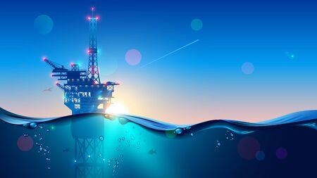 Offshore-Öl- oder Gasplattform im Meer bei Sonnenuntergang. Industriebohrplattform im Ozean. Wasser mit Unterwasserblasen mit Sonnenaufgang am Horizont. Unterwasser-Meereslandschaft. Bergbau Erdöl. Vektorgrafik