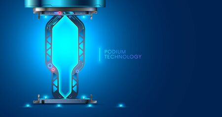Blank display, stage or podium for show product or people model in futuristic cyberpunk style. Technology environment for demonstrating design. Industry scene, platform or pedestal in 3d cyberspace.
