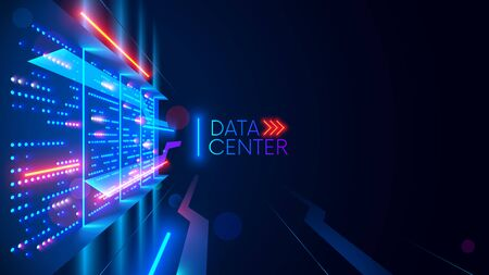 Data center or digital storage. Server rack with glowing lights. Abstract tech background of cloud computing, networking technology. Data stream processed and warehouse by server. Conceptual banner. Stock Illustratie