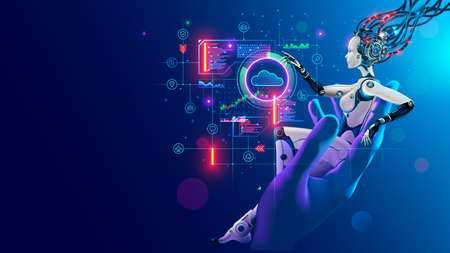 Beauty robot woman sitting in hand human, analyze data on hud interface in cyberspace. Cyborg with artificial intelligence working with neural networks, big data, cloud computing. AI and Industry 4.0 Archivio Fotografico