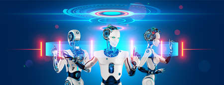 A team of cyborg robots works with a virtual 3d interface in cyberspace. An anthropomorphic bionic  with artificial intelligence manages a team of workers. The fourth industrial revolution. Archivio Fotografico