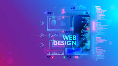 Web develop for mobile phone vector concept. Create Software and app for cell smartphones. Programming or coding site code. Working on a web design of corporate website. Process creates webpages. Vettoriali