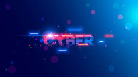 Vector neon letters of word Cyber in Retro cyberpunk style 80th or 90th. Glowing text cybermonday on web banner of online shopping. Logo or tag cyber of stripes, lines. Vintage computer technology
