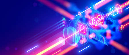 Quantum computing. Close up of optical cpu process light signal. Quantum computer of glowing qubits. Laser ray signal transmitting digital signal in chip or processor. Abstract technology background. Illustration