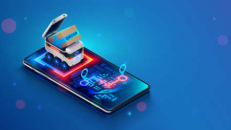 Delivery robot shipping order in a cardboard box. Small Autonomous shipping vehicle of purchase to specified location on map of phone. Robotic delivery online service. Isometric vector concept.