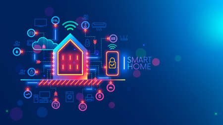 Smart home system concept. Phone controls works, safety of smart devices in house. Smartphone app of monitoring, setting of algorithm autonomous works of household appliances. Internet of things. IOT.