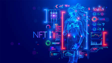 NFT token in artwork. Blockchain technology in digital crypto art, computer illustration, design. Create ERC20 of collectibles. Investment in cryptographic. Birth of Venus. Conceptual banner.