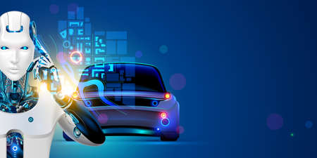 Robot driver of autonomous car. AI of driverless system of vehicles in image cyborg. Concept of Artificial intelligence of transportation technology. Autopilot of Self-driving automotive system.