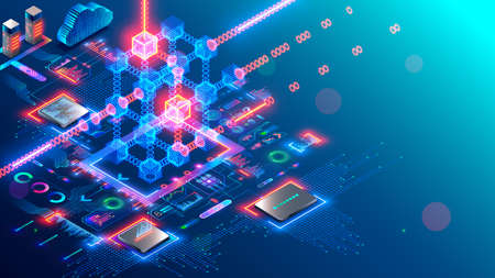 Blockchain and fintech of crypto currency. Block chain technology. Mining cryptocurrency isometric concept. Computer server in networking generates digital money. Future of financial tech.