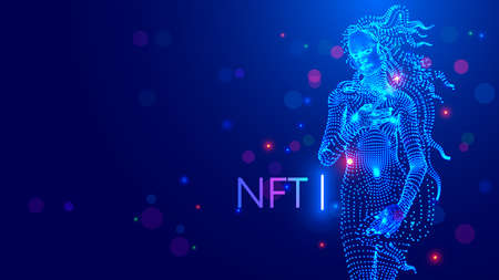 NFT token in artwork. Blockchain technology in digital crypto-art. Investment in cryptographic. Create ERC20 of Digital work of art with block chain token. Investment in crypto art collectibles.