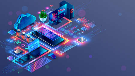 Programming and coding of program product or code. Workplace of computer software developers. Technology creating cross platform application. Modern Tech isometric conceptual illustration.