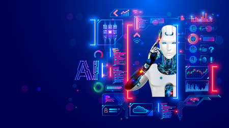 AI. Artificial intelligence. Robot or cyborg looking at virtual HUD interface. Machine learning concept. Modern tech frame for text, picture in computer electronic technology style. Face of android.