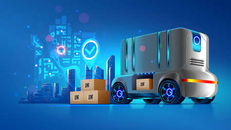 Autonomous delivery vehicle of future. Service transportation of cargo shipping to the buyer. Robotic self-driving lorry. Futuristic logistic concept. Innovation automotive driverless technology.